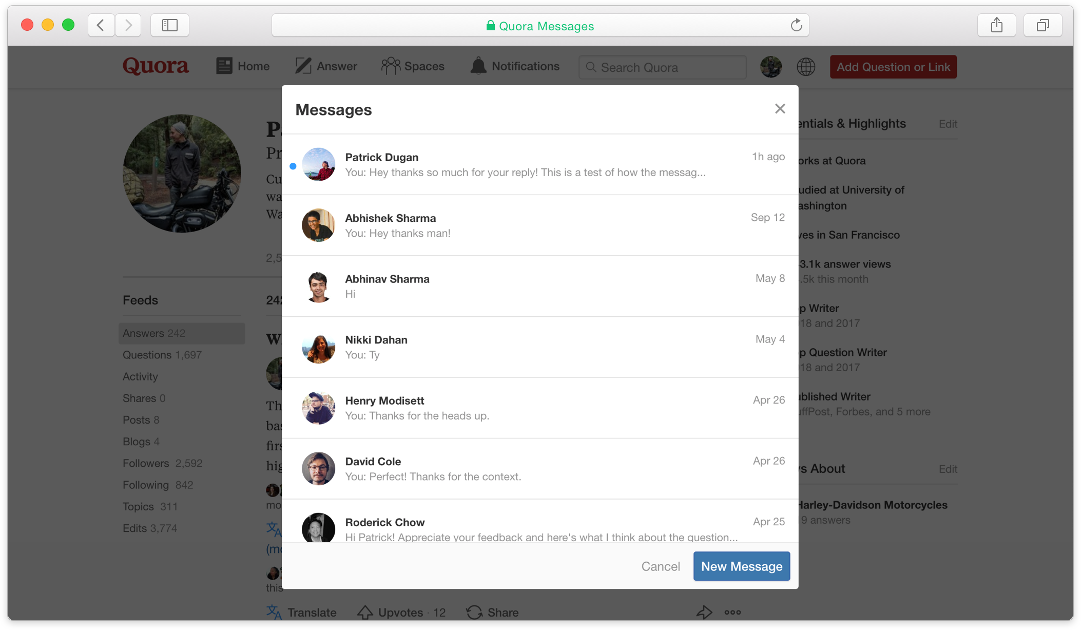 The main screen for Quora Messages on desktop.
